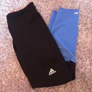 Black and Blue Adidas leggings